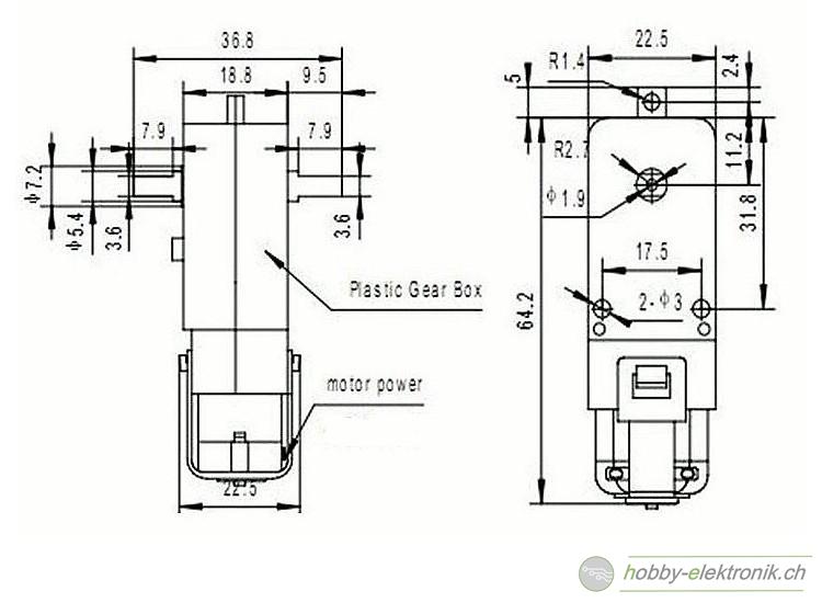 Dc Getriebemotor Mit Rad F R Roboter Online Shop Hobby